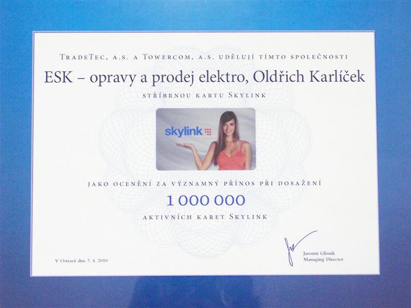 skylink certifiát kvalitních služeb